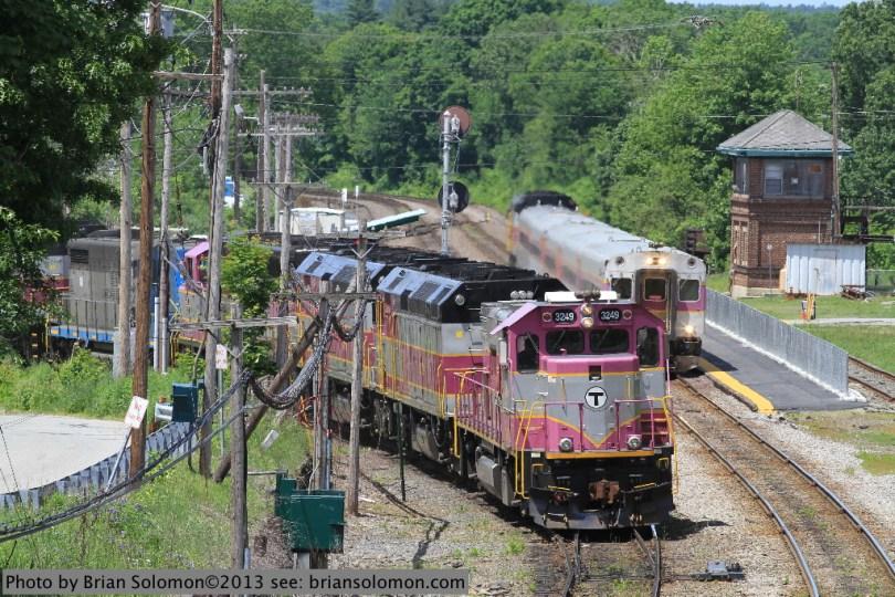 MBTA equipment train at Ayer.