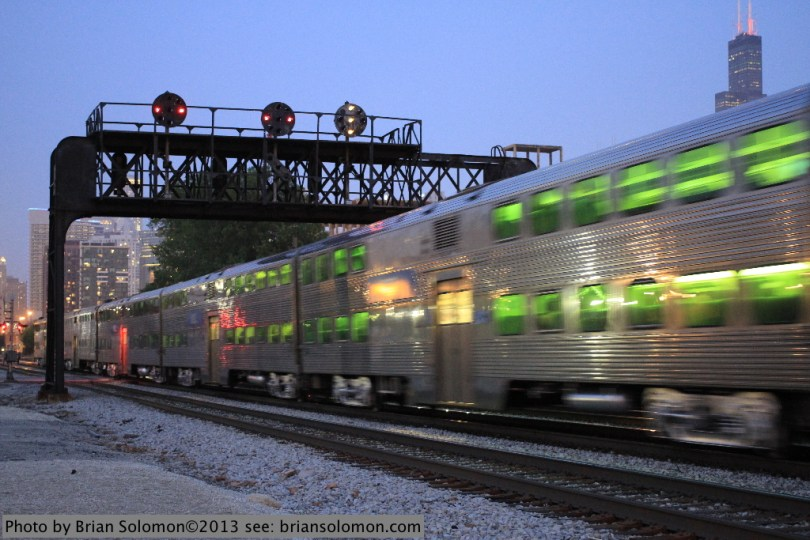 Metra train with position light signals.
