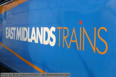 East Midlands Trains is a franchise operating in its namesake area north and east of London. Detail of an HST Class 43 power car (locomotive). Lumix LX3 photo.