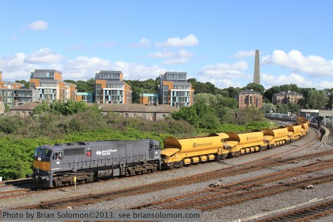 Irish Rail Gray 077 Leads Ballast Train