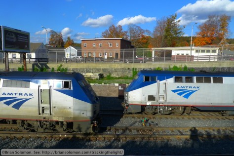 Amtrak's southward (left) and northward (right) Vemonters are nose to nose at Palmer. Lumix LX3 photo.