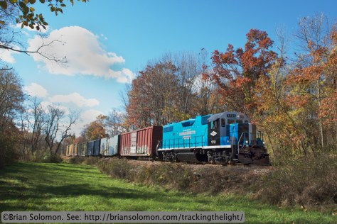 Mass Central 1751 works toward South Barre, Massachusetts on October 24, 2013.