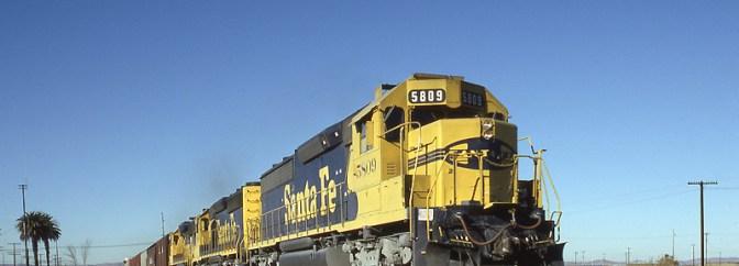 Santa Fe at West Pittsburg, California, November 1990.