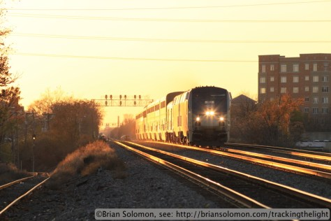 Amtrak Number 6, the California Zephyr approaches Congress Park, Illinois at sunset on November 9, 2013. Exposed with a Canon EOS 7D with 200mm lens. 400 ISO 1/500th second at f5.6