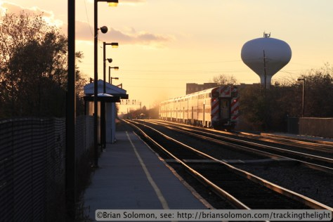 Trailing view of a Metra train at Congress Park.  Canon EOS 7D with 100mm lens.