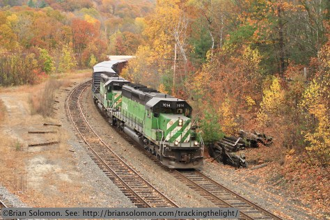 Pan Am Southern symbol freight 190ED passes Millers Falls, Massachusetts on October 22, 2013. Canon 7D with 40mm pancake lens.
