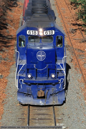 Pan Am 618 roars west at Wisdom Way on November 21, 2013.