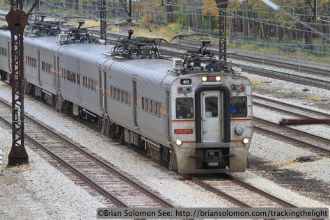 South Shore train on the former Illinois Central at East Pershing Street in Chicago on November 7, 2013. Exposed with a Canon EOS 7D fitted with an f2.0 100mm lens.