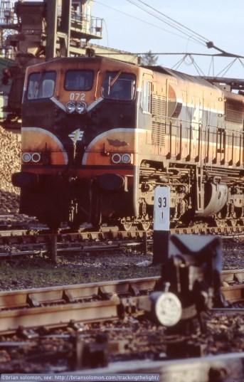 Irish Rail locomotive 072 (built by General Motors in La Grange, Illinois.) shunts sugar beet wagons to assemble a train destined for Mallow.