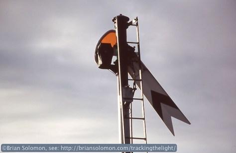 Distant signal for Nicholastown gates. Nikon F3 with 180mm lens, Fujichrome slide film.