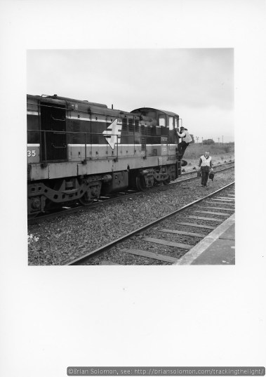 The Cement train crew gets off the engines after stabling the train in the sidings. After exposing these photos I boarded a train for Mallow and Tralee.