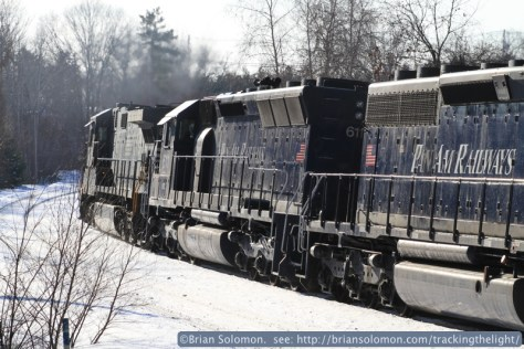 Trailing view of Pan Am Railway's POED. The failed locomotive is a former Southern Pacific SD45. I wonder, had I seen this locomotive on Donner Pass or climbing the Siskiyou Line? Anyone have a roster handy? Today its Pan Am 611, what was it back then?