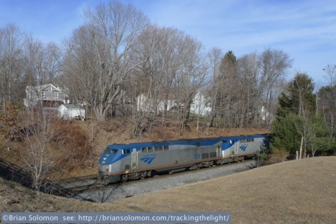 Amtrak's westward Lake Shore Limited at East Brookfield, Massachusetts on January 13, 2014. Exposed with a Lumix LX3.