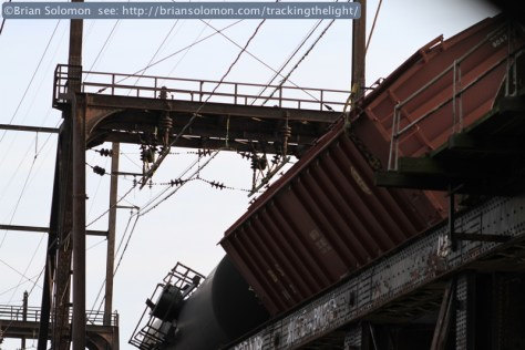 View from I-76; a crane attends to a derailed sand hopper at the site of the January 20, 2014 Schuylkill RIver Bridge derailment. Canon EOS