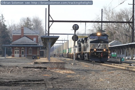The much anticipated Norfolk Southern detour I5T, (running as CSXT B100-19) works northward through West Trenton. At the back of the train are a pair of NS diesels to aid with reverse moves necessary for the detour arrangements. Canon EOS 7D with 100mm lens.
