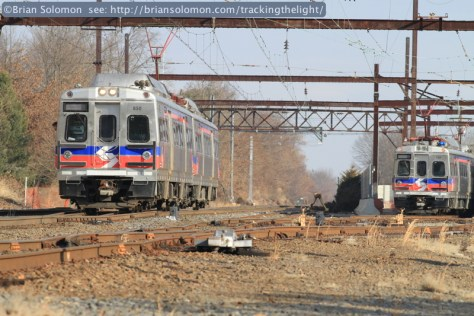 A SEPTA Silverliner V waits to enter West Trenton Station. Canon EOS 7D with 200mm lens.