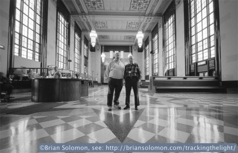 John Gruber and Bill Kratville inside the old Omaha Union Station.  Exposed with a Contax G2 rangefinder fitted with a 45mm Zeiss Planar lens. Fuji 100 Acros black & white.