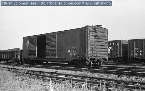 New York Central 50-foot boxcar at West Springfield, Massachusetts, July 1984. Exposed with a Leica 3A with 50mm Summitar lens.