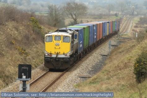 Irish Rail's Dublin-Ballina works west of Ballyhaunis on March 13, 2014. Canon EOS 7D photo.
