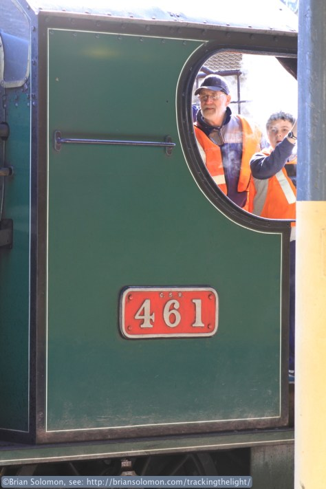 On the footplate.