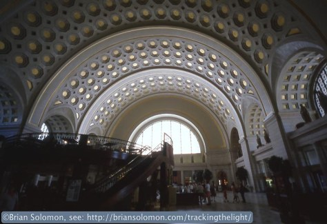 Washington D.C. Union Station as it appeared to me in May 2002. Exposed on Fujichrome slide film using a Contax G2 Rangefinder with 16mm Hologon lens.