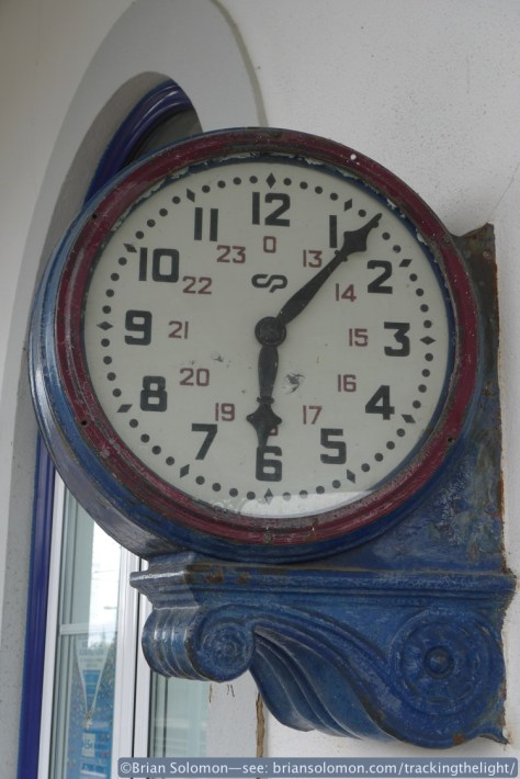 A classic clock keeps time at the station. Lumix LX3 photo.