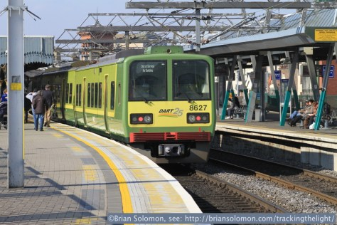 An 8600-series DART pauses at platform 5 in Connolly Station. April 2014.