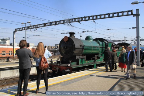 Steam on a sunny morning. Locomotive 461 pulls into platform 5 at Connolly Station. Canon EOS 7D with 20mm lens.