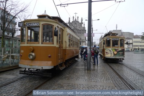 Trams congregate in Porto. Car 131 on the right is a Brill product, now more than 100 years old. Lumix LX3 photo.