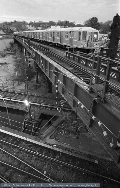 An L train Brooklyn, New York, November 1998. Exposed with a Nikon F3T with 24mm lens. (The route is L, not to be confused with the colloquial 'El' or Chicago's 'L', just for clarification).