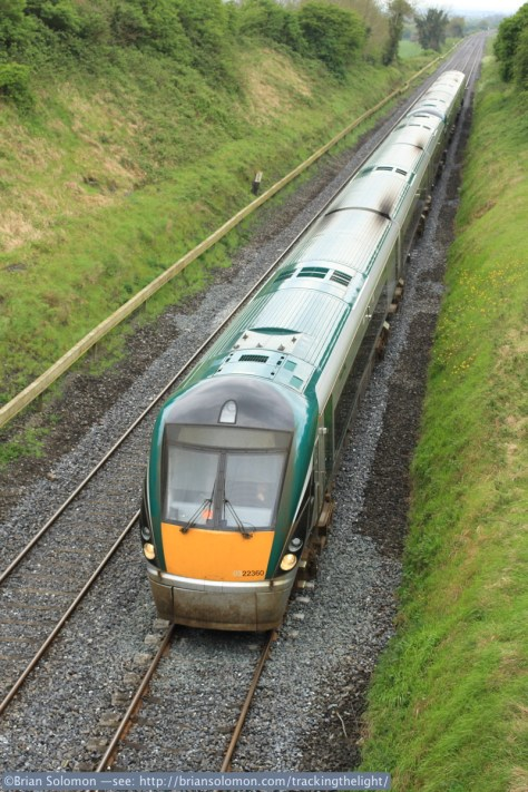 Irish Rail's Rotem Intercity Rail Cars are the standard equipment on most intercity passenger services. Trains passing Kildare serve Cork, Limerick, Waterford, Galway, and Mayo lines. Exposed with a Canon EOS 7D with 40mm lens.