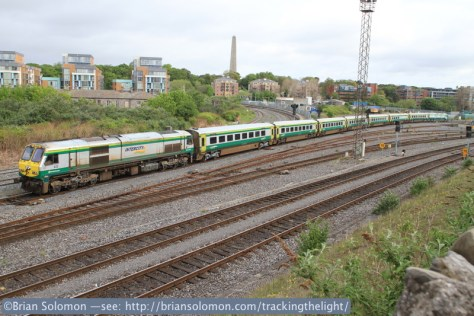 Irish Rail 222 with Mark4 at Islandbridge Junction on May 7, 2014. Canon EOS 7D with 20mm lens.