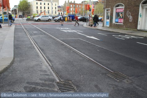 New tram tracks for LUAS Cross City route.