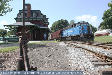 Pan Am Railways RJ1 at at North Bennington; Victorian-era railway station with a sky blue 1970s-era diesel-electric. Exposed with a Canon EOS 7D.