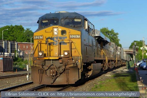 A tight view of CSX Evolution-series diesels rolling toward the Palmer diamond. Lumix LX-7 photo.