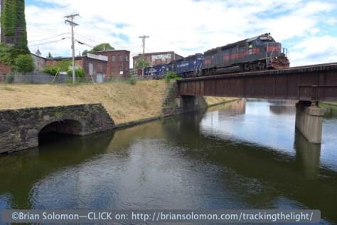 Pan Am's EDPL crossing a canal bridge in Holyoke on June 22, 2014.