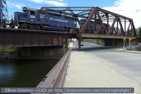 Pan Am's EDPL crossing a canal bridge in Holyoke on June 22, 2014. Lumix LX-7 photo.