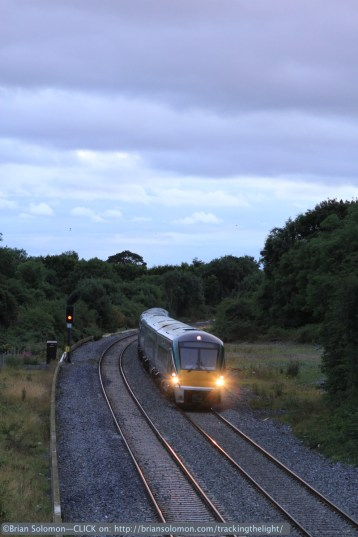 The light was fading fast when I made this view of an uproad Irish Rail ICR at milepost 17. What could expect of the steam special?
