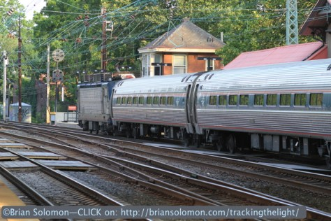 An eastward Amtrak Keystone passes Overbrook Tower. The signal displays Approach Medium. Canon EOS 7D photo.