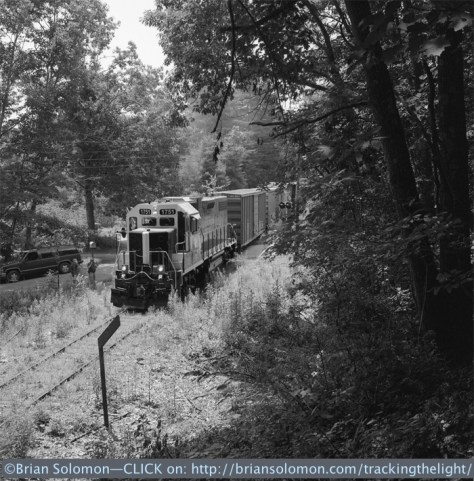 Mass-Central 1751 works north of Gilbertville on July 10, 2014. Exposed on Tri-X using a Rolleiflex Model T with Zeiss Tessar lens.