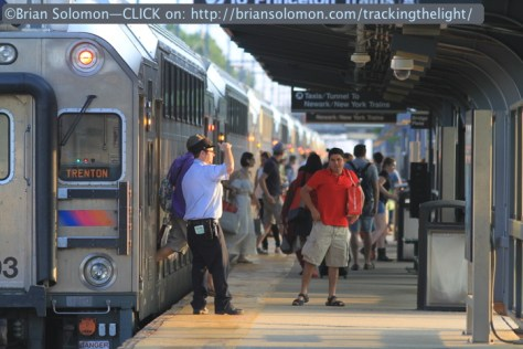 An NJ Transit train from New York Penn Station pauses on the platform at Princeton Junction. Exposed with a Canon EOS 7D with 200mm lens.