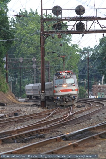 SEPTA's Great Valley Flyer crosses over at Overbrook. Pat Yough had warned me of this in advance, so I was prepared. Exposed with a Canon EOS 7D with 200mm lens.