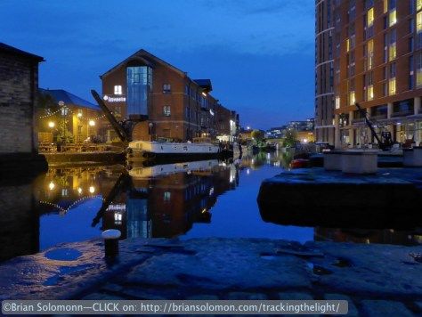 Dusk on the old canal at Granary Wharf, Leeds. Lumix LX7 photo.