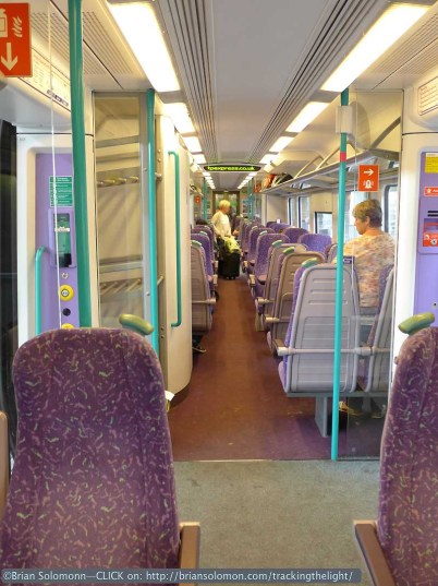 The interior of the Class 185 DMU has decor that reminds me 1990s German InterCity trains. Lumix LX7 photo.