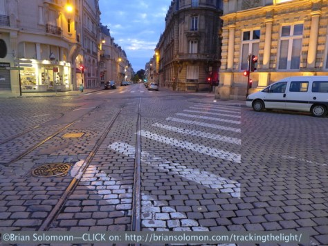 Vestiges of Reims original narrow gauge tram system remain. The modern system is standard gauge. Lumix LX7 photo.