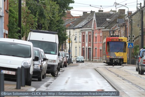 A tram takes a siding on single track at Anderlues. Canon EOS 7D with 200mm lens.