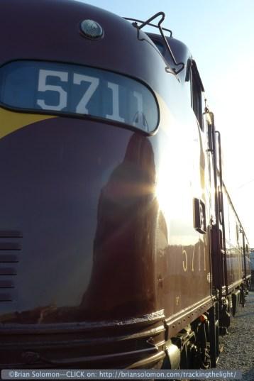 Pennsylvania Railroad E8A 5711 on display at Spencer, North Carolina in May 2014.