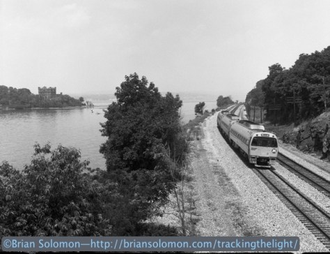 Metro-North SPV2000s roll along the Hudson River near the iconic Bannerman Castle. I was emulating an older style of photography by using a vintage 120-size Rolleiflex with Verichrome Pan black & white negative film. Would this photo be better as a digital color image?