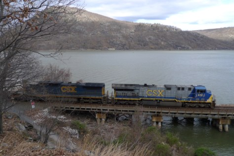 CSX Q006 rolls south along the Hudson River at Iona Island, New York in March 2012. Lumix LX3 photo.