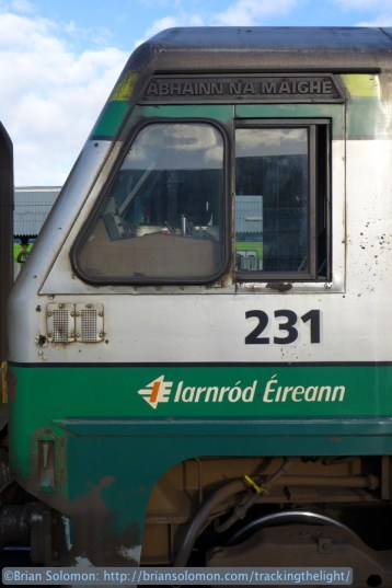 The Enterprise service is one of the only regularly scheduled locomotive hauled trains in Ireland. Irish Rail 231 worked our trains on both legs of the journey.